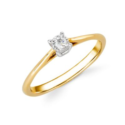 9ct Yellow Gold Illusion Set 0.05ct Diamond Ring