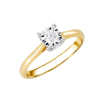 9ct Yellow Gold Illusion Set 0.17ct Diamond Ring