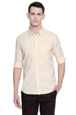 BASICS SLIM FIT DOUBLE CREAM OXFORD PRINTED SHIRT-21BSH46301