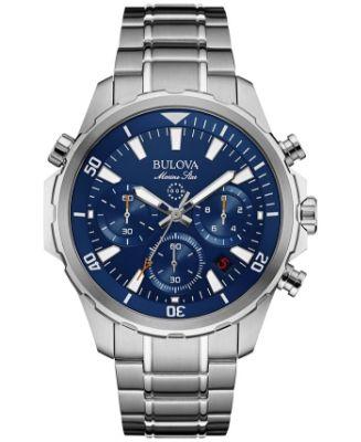 Bulova - Men's Chronograph Marine Star Stainless Steel Bracelet Watch 43mm 96B256