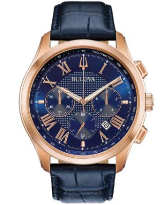 Bulova - Men's Chronograph Wilton Blue Leather Strap Watch 46.5mm