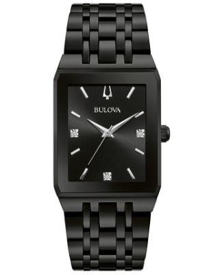 Bulova - Men's Futuro Diamond-Accent Black Stainless Steel Bracelet Watch 45x30mm