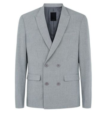 Grey Double Breasted Slim Suit Jacket