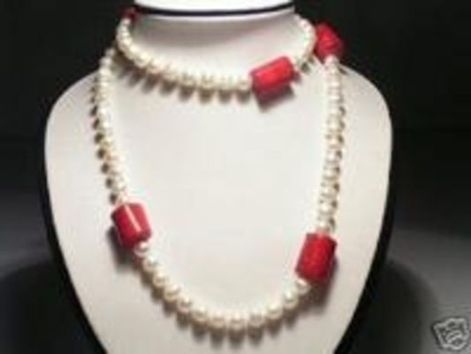 34'' Luster Real White FW Pearls&Red Coral Necklace