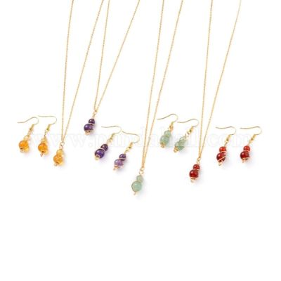 Natural Gemstone Pendant Necklace & Dangle Earrings Jewelry Sets, with Copper Wire, Golden Plated Brass Earring Hooks and Cable Chains, Round, Necklace