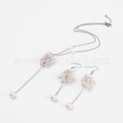 Natural Moonstone & Pearl Jewelry Sets, Pendant Necklaces and Dangle Earrings, with Stainless Steel Curb Chains and Findings, Cardboard Boxes
