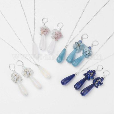 Natural & Synthetic Gemstone Jewelry Sets, Pendant Necklaces & Hoop Earrings, with Brass Findings, teardrop
