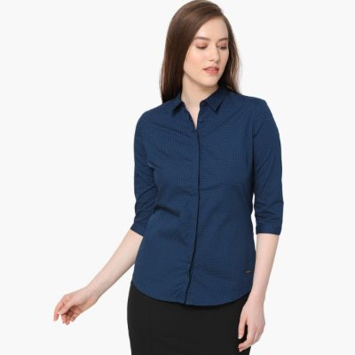 VAN HEUSEN Dot Print Concealed Placket Shirt