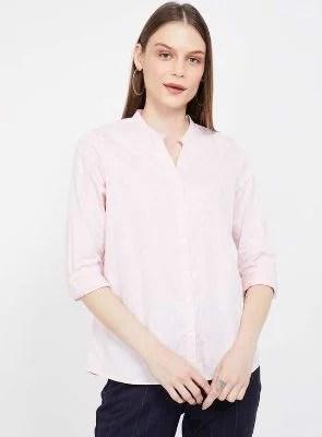 VAN HEUSEN Printed Open Collar Shirt