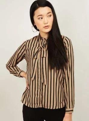 VAN HEUSEN Women Striped Tie-Up Detail Shirt