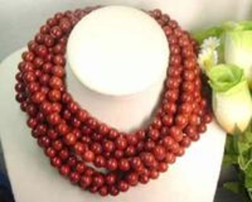 Wholesale 5 strands red sponge coral necklace
