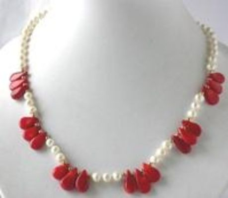 """18"""" white FW pearl red seed coral necklace"""