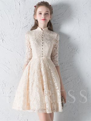 A-Line High Neck Bowknot Button Lace Sashes Half Sleeves Mini Homecoming Dress