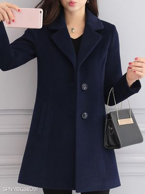 Autumn and winter slim mid-length thin woolen coat women's woolen coat