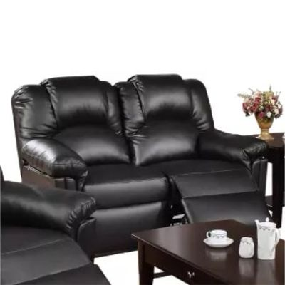 Bonded Leather Recliner Loveseat Black - Benzara