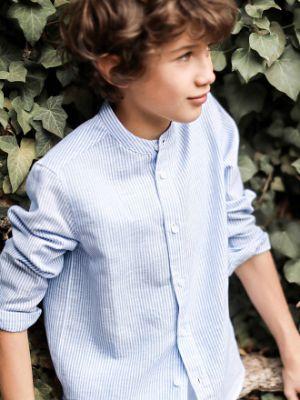 Boy's cotton/linen shirt- blue/white