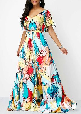Butterfly Sleeve V Back Printed Dress