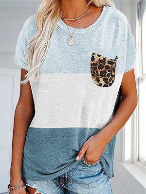 Casual Leopard Print Pocket T-shirt