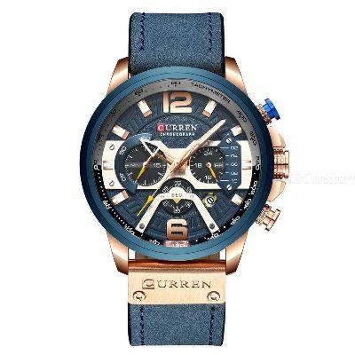 Curren Mens Watch Business Chronograph Quartz Watch Luxury Leather Sport Waterproof Wristwatch 8329
