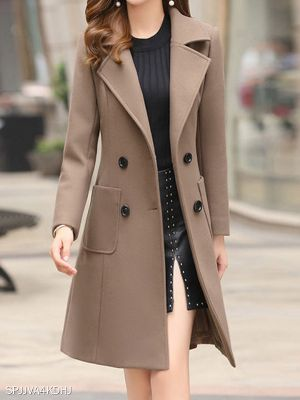 Fashion lapel slim mid-length Overcoat