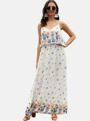Floral Print Spaghetti Strap Popover Maxi Dress