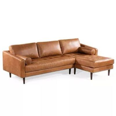 Florence Mid Century Modern Right Sectional Sofa Cognac Tan - Poly & Bark
