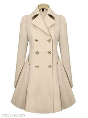 Fold Over Collar Double Breasted Plain Coats