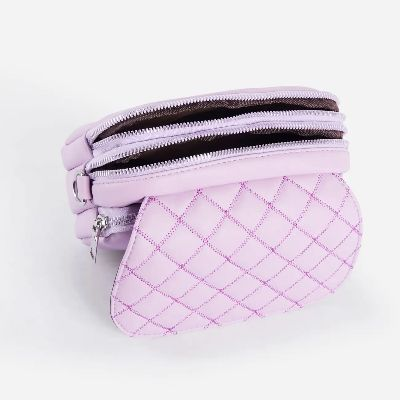 Josie Mini Quilted Cross Body Bag In Lilac Faux Leather
