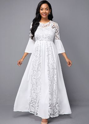 Lace Panel White Round Neck High Waist Dress