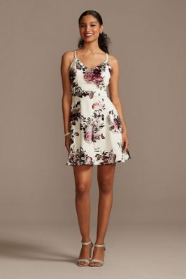 Metallic Foil Floral Print A-Line Mini Dress