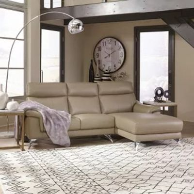 Moderno Leather Contemporary Upholstered Chaise Sofa Beige - Home Styles