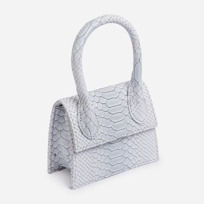 Nellie Super Mini Grab Bag In Textured White Snake Print Faux Leather (Available in 7 colors)