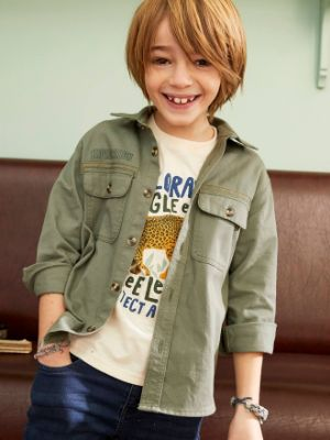 Overshirt with Jeep Motif on the Back for Boys- green medium solid with desig