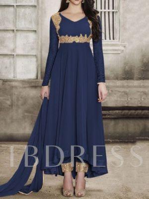 Patchwork Color Block Sweet Dress Asymmetrical Women's Two Piece Sets