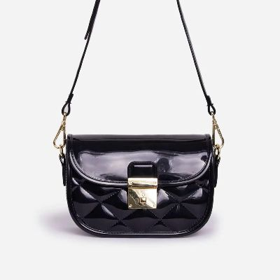 Penny Quilted Cross Body Mini Bag In Black Patent