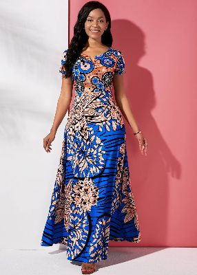 Round Neck Short Sleeve Tribal Print Maxi Dress