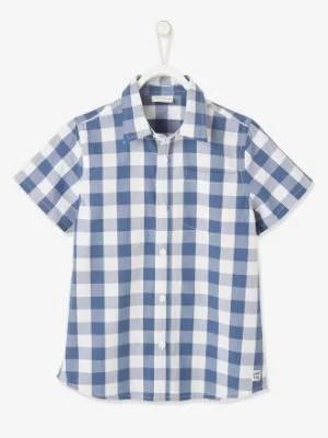Short Sleeve Shirt with Checks for Boys- blue medium checks