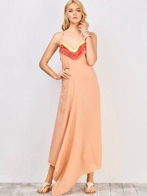 Stylish Spaghetti Straps Ruffles Spliced Women's Maxi Dress