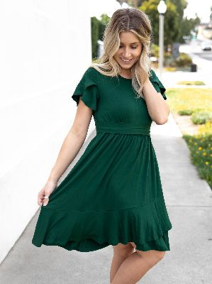 The Katie Dress - Forest Green