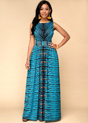 Tribal Print High Waist Sleeveless Dress