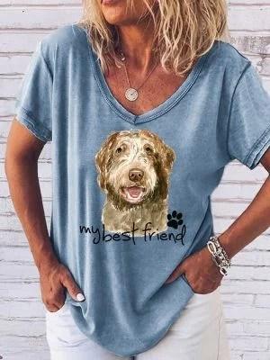 Womens pet print short sleeve T-shirt 2