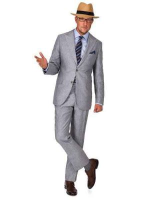 2 Button Grey Linen For Beach Wedding Outfit - Men's Summer Suit
