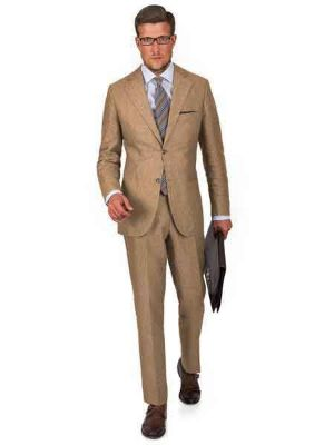 2 Button Intense Khaki Linen For Beach Wedding Outfit - Men's Summer Suit