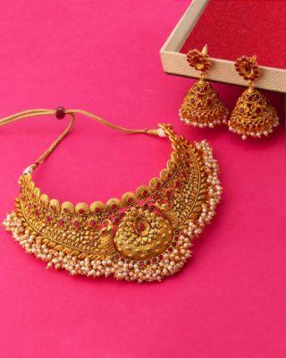 Heavily Embellished Temple Necklace Set