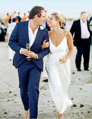 Men's Blue Navy Linen For Beach Wedding Outfit Beach Wedding Menswear Suit
