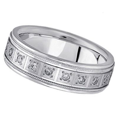 PAVE-SET DIAMOND WEDDING BAND IN 14K WHITE GOLD FOR MEN (0.40 CTW)