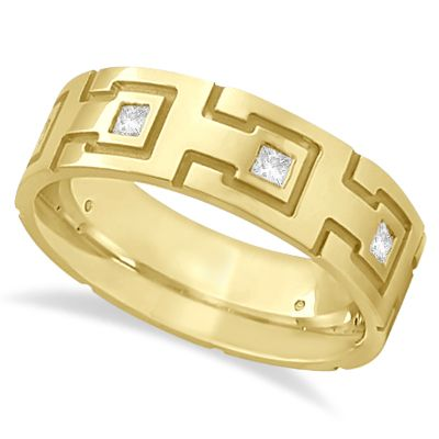 PRINCESS CUT ETERNITY DIAMOND RING FOR MEN 14K YELLOW GOLD (0.50CT)
