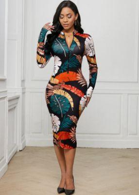 Printed Zip Front Long Sleeve Dress