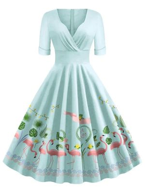 SKY BLUE 1950S FLAMINGO SWING DRESS