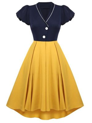 SNOW WHITE STYLE 1950S HI-LO SWING DRESS